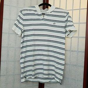 Banana Republic white striped polo. Size M.